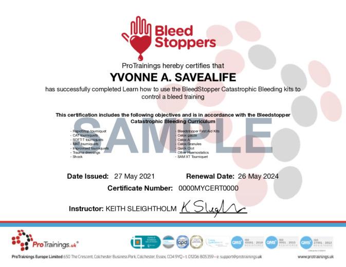 Sample Bleedstopper Catastrophic Bleeding Online Certificate