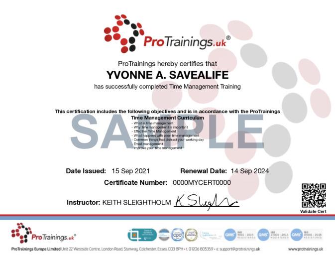 Sample Time Management Online Certificate