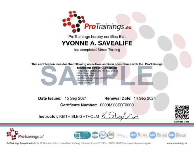 Sample Managing Stress Online Certificate