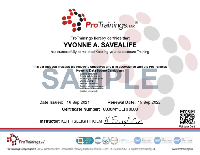 Sample Keeping Data Secure Wall Certificate