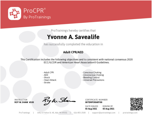 ProCPR Basic Wall Certificate - ProTrainings Health and Safety Store