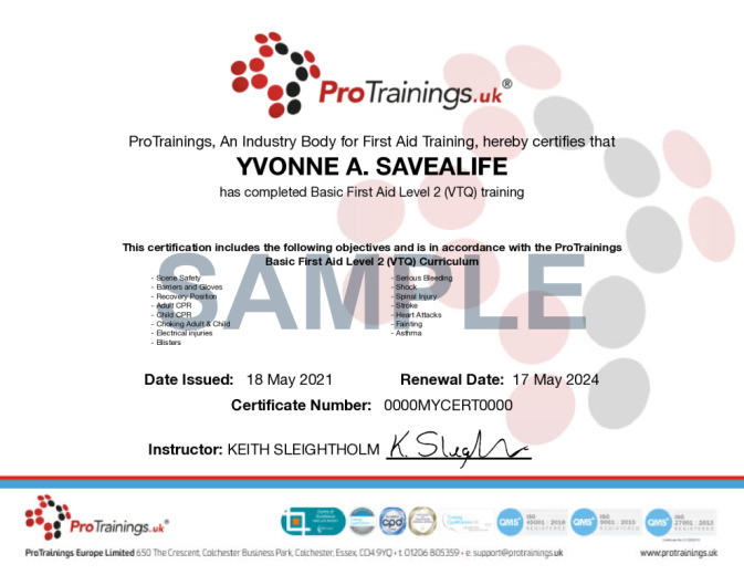 Sample Basic First Aid Level 2 (VTQ) Wall Certificate