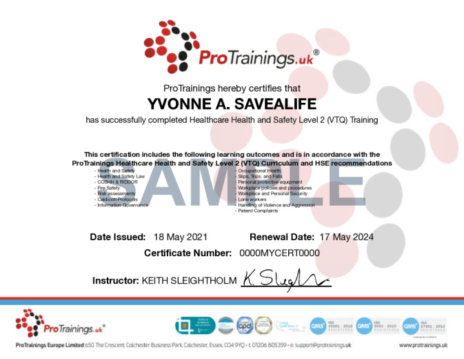 Sample Healthcare Health and Safety Level 2 (VTQ) Wall Certificate