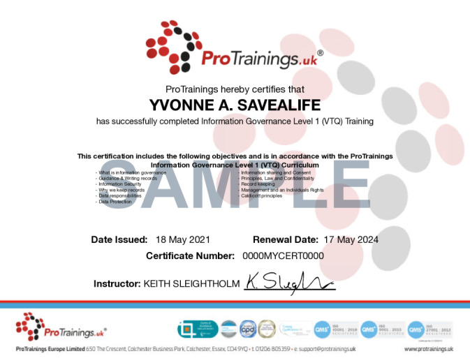 Sample Information Governance (VTQ) Wall Certificate