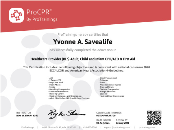 ProFirstAid Advanced Wall Certificate - ProTrainings Health and ...