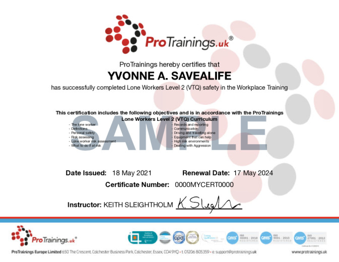 Sample Lone Workers Level 2 (VTQ) Wall Certificate