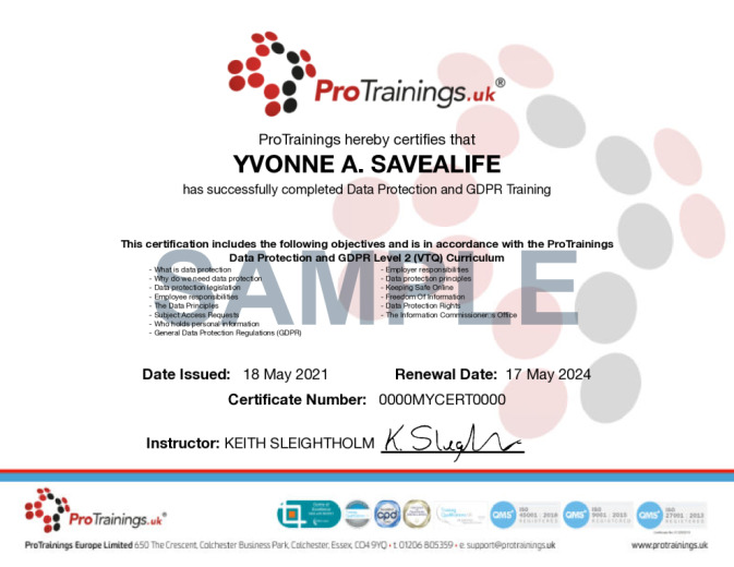 Sample Data Protection and GDPR Level 2 (VTQ) Wall Certificate