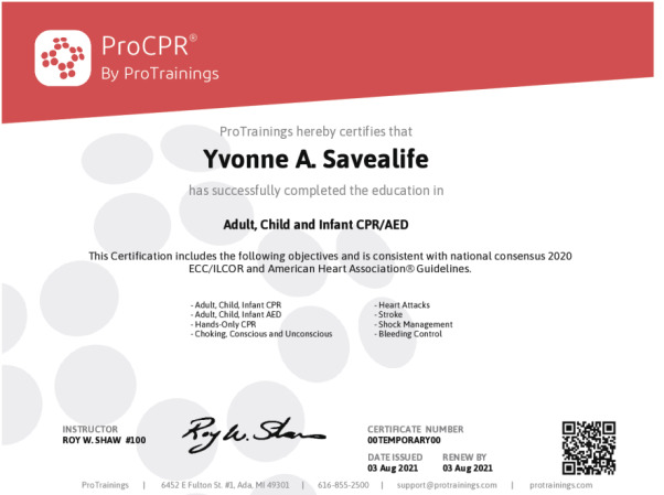 Community CPR Wall Certificate - ProTrainings Health and Safety Store