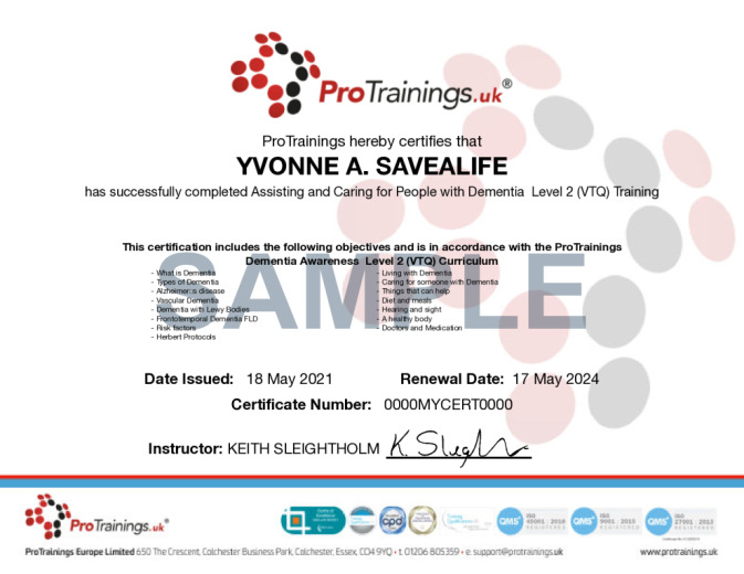 Sample Dementia Awareness Level 2 (VTQ) Wall Certificate