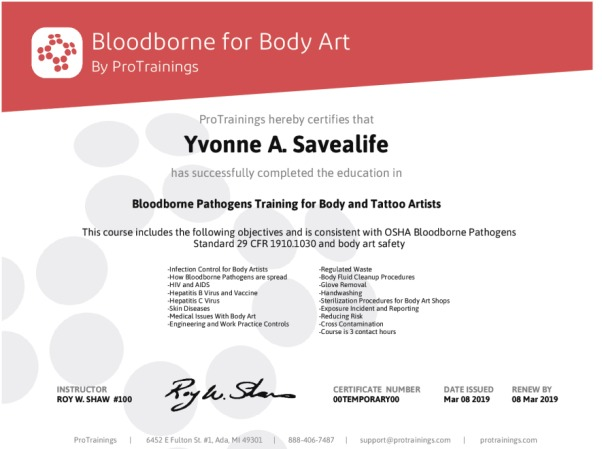 Bloodborne for body art wall certificate protrainings for Bloodborne pathogens for tattoo artists