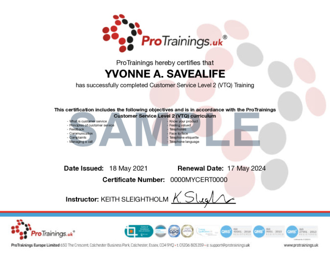 Sample Customer Service Level 2 (VTQ) Wall Certificate
