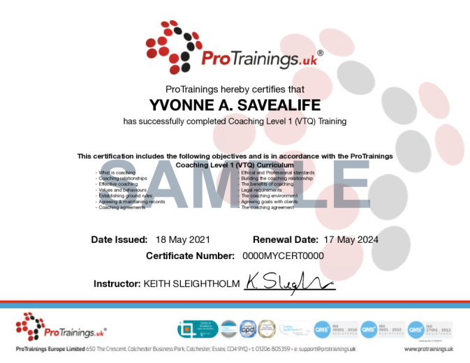 Sample Coaching Wall Certificate