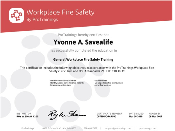 Workplace Fire Safety Wall Certificate - ProTrainings Health and ...
