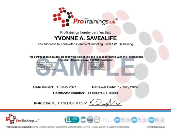 Sample Complaint Handling Level 1 (VTQ) Wall Certificate