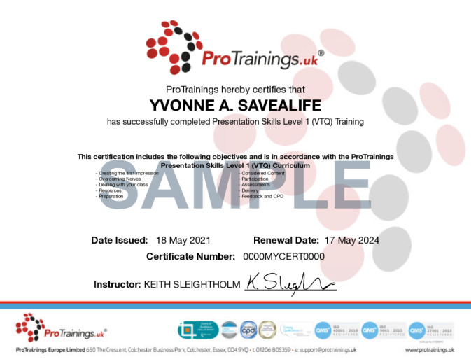 Sample Presentation Skills Wall Certificate