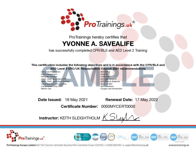 Sample HeartSine AED Wall Certificate