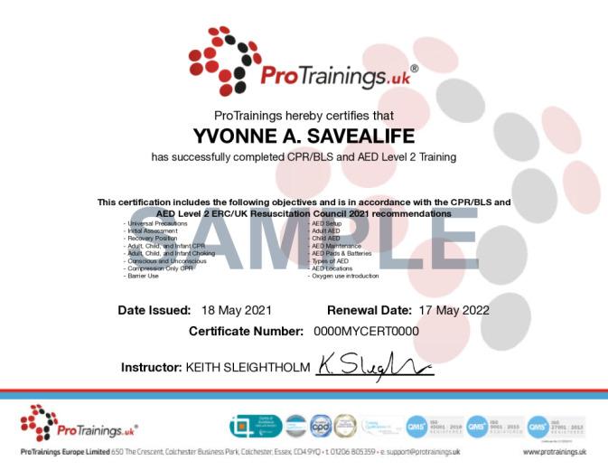 Sample HeartSine AED Level 2 (VTQ) Wall Certificate