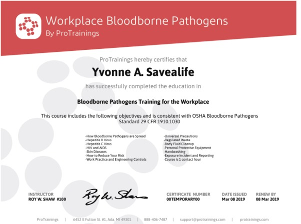 bloodborne for the workplace wall certificate - protrainings health