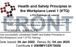 Sample Health and Safety Awareness Level 1 Card Front