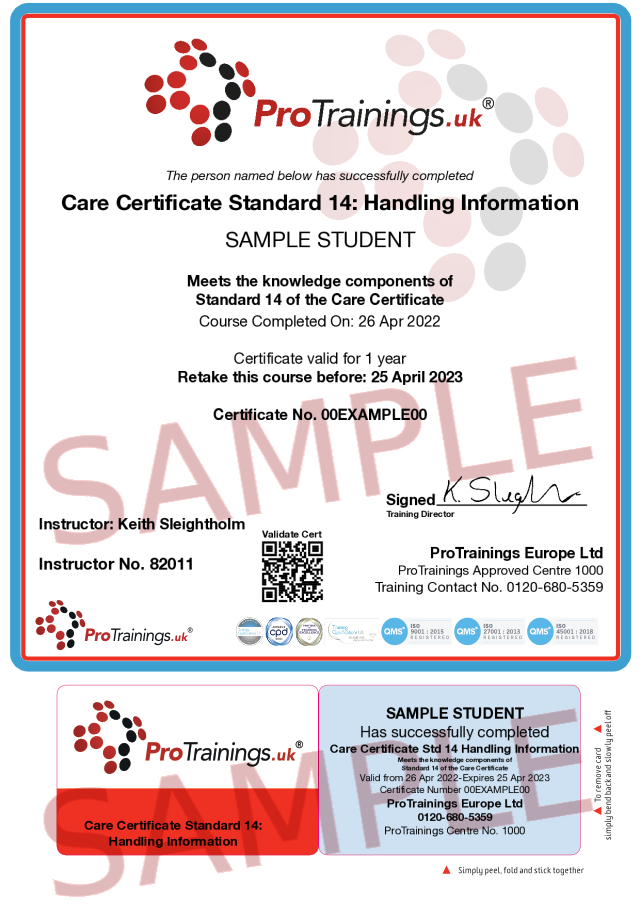 Sample Care Certificate Standard 14: Handling Information  Classroom Certificate