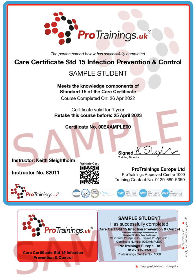 Sample Care Certificate Standard 15: Infection Prevention and Control Classroom Certificate