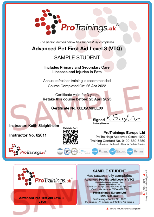 Sample Advanced Pet First Aid Level 3 (VTQ) Classroom Certificate