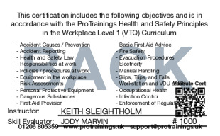 Sample Health and Safety Awareness Level 1 Card Back