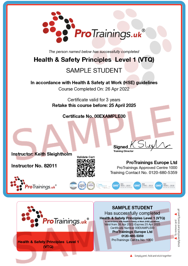Sample Health and Safety Principles in the Workplace Level 1 (VTQ) Classroom Certificate