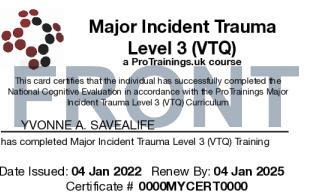 Sample Major Incident Trauma Level 3 (VTQ) Card Front