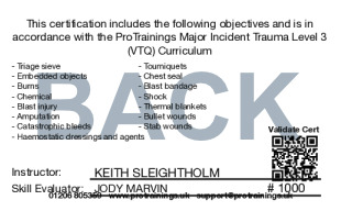 Sample Major Incident Trauma Level 3 (VTQ) Card Back
