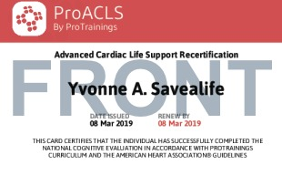 Sample ProACLS Recertification Card Front