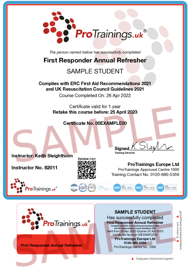 Sample First Responder Annual Refresher Classroom Certificate