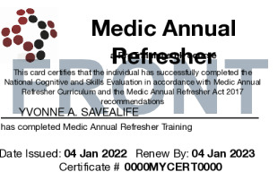 Sample First Responder Annual Refresher Card Front