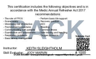 Sample First Responder Annual Refresher Card Back