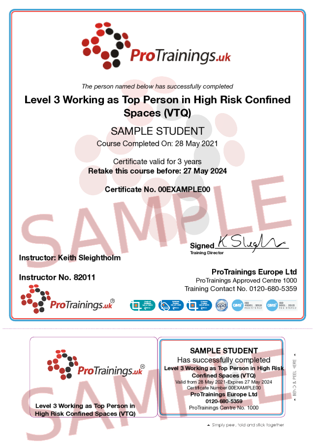 Sample Level 3 in Working as Top Person in High Risk Confined Spaces (VTQ) Classroom Certificate