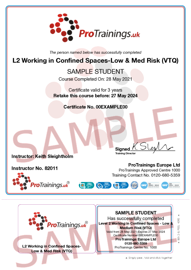 Sample Level 2 in Working in Confined Spaces - Low and Medium Risk (VTQ) Classroom Certificate