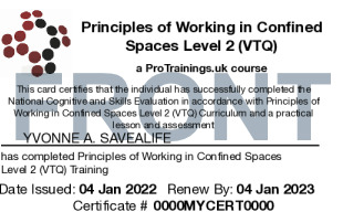Sample Principles of Working in Confined Spaces Level 2 (VTQ) Card Front