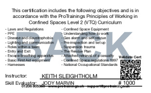 Sample Principles of Working in Confined Spaces Level 2 (VTQ) Card Back