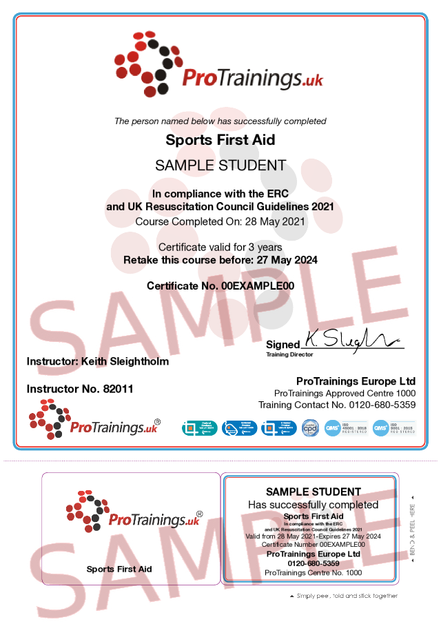 Sample Sports First Aid blended part two Classroom Certificate