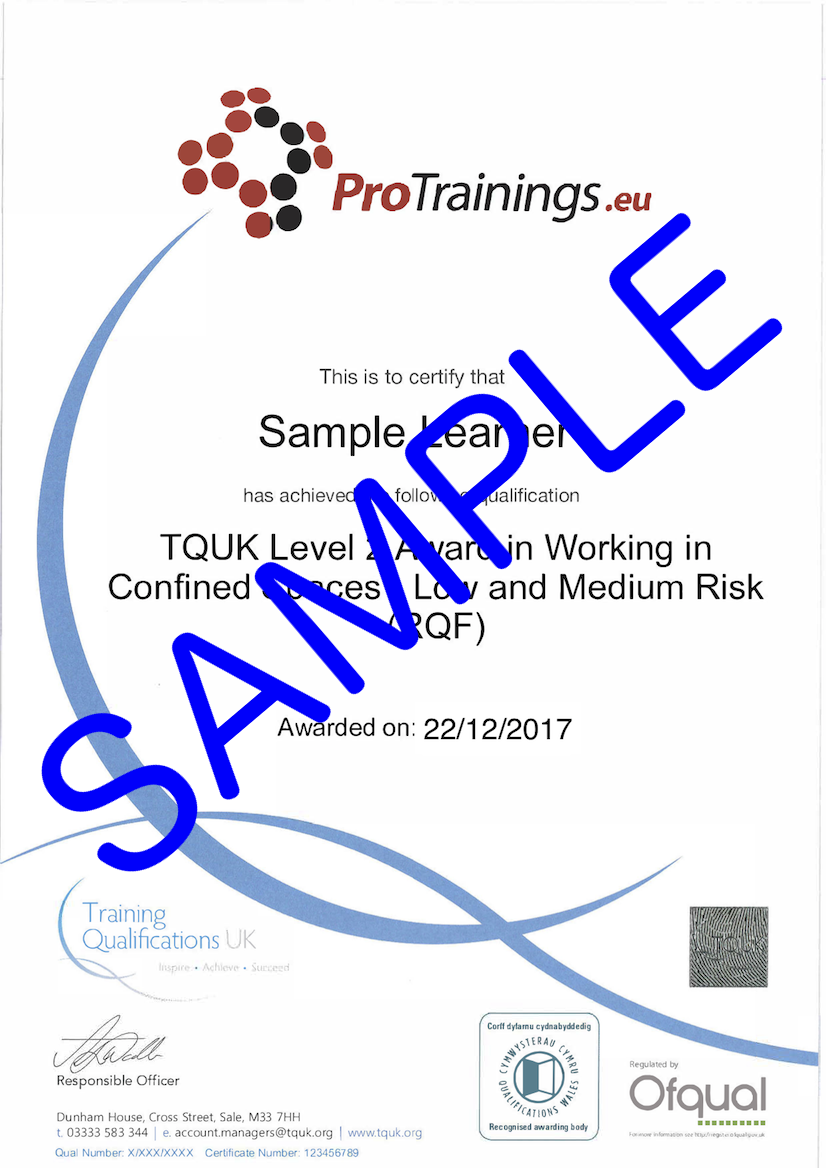Sample TQUK Level 2 Award in Working in Confined Spaces - Low and Medium Risk (RQF)  Classroom Certificate