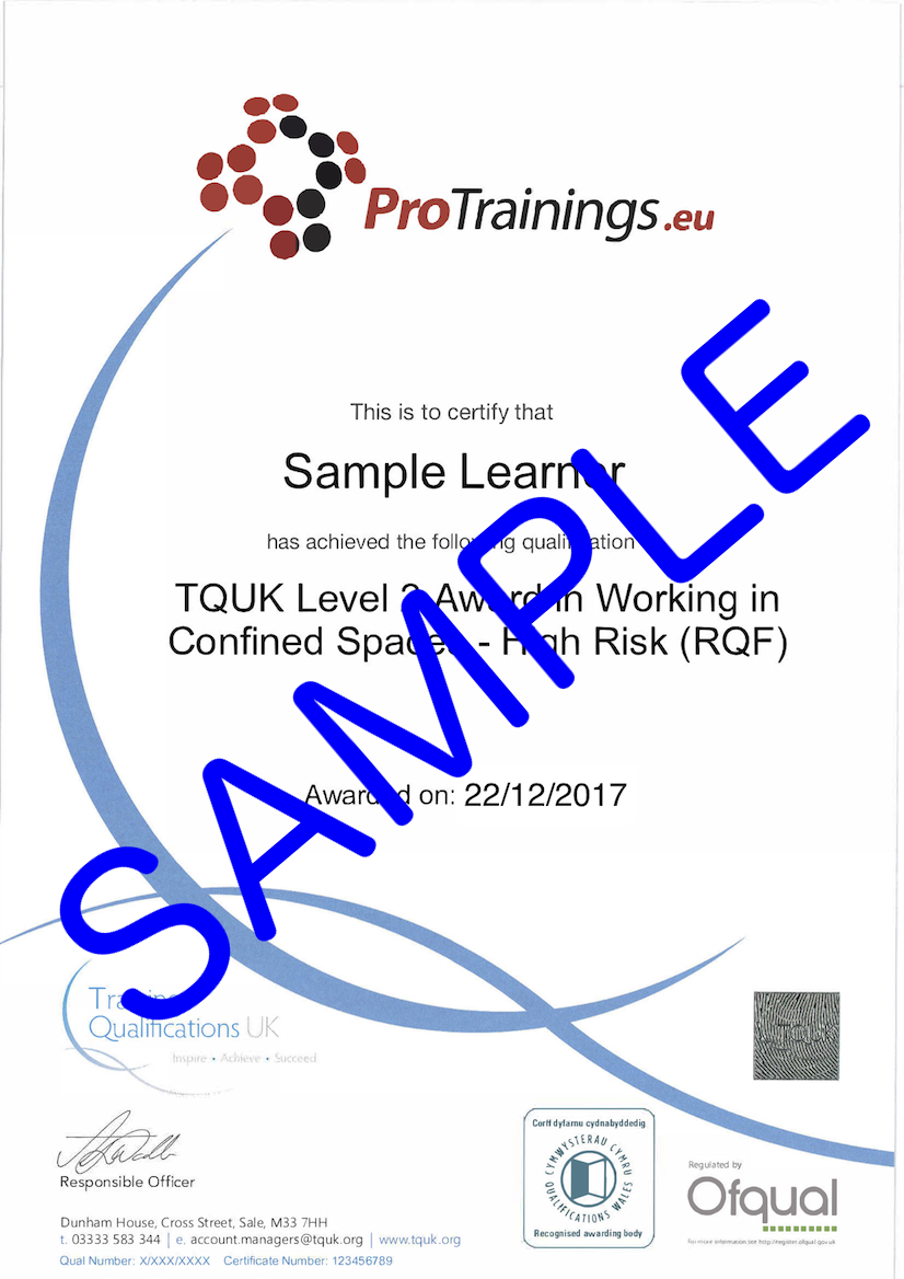 Sample TQUK Level 2 Award in Working in Confined Spaces – High Risk (RQF)  Classroom Certificate