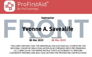 Sample ProFirstAid Instructor Card Front