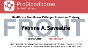 Sample Healthcare Bloodborne Pathogens Card Front