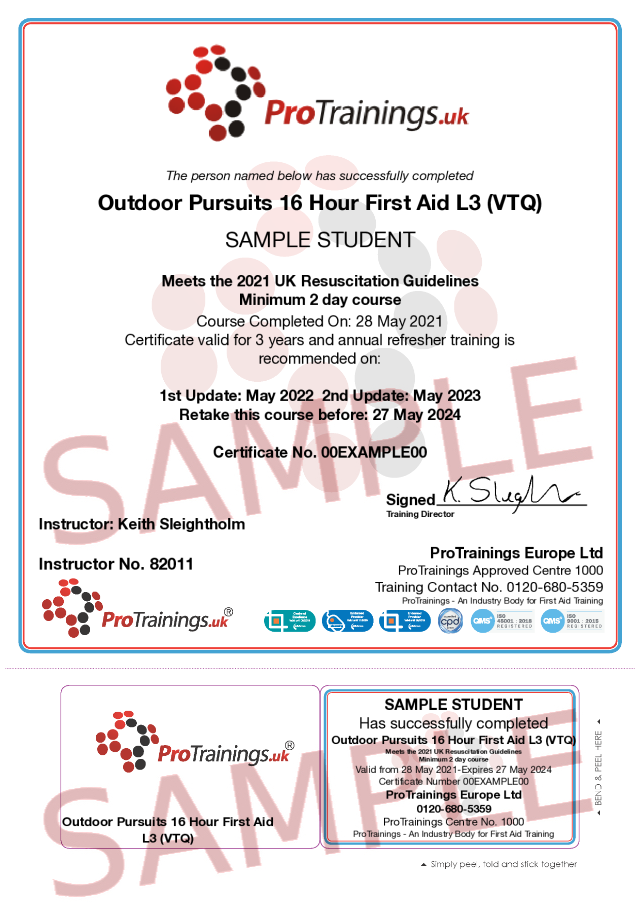 Sample Outdoor Pursuits 16 Hour First Aid Level 3 (VTQ) Classroom Certificate