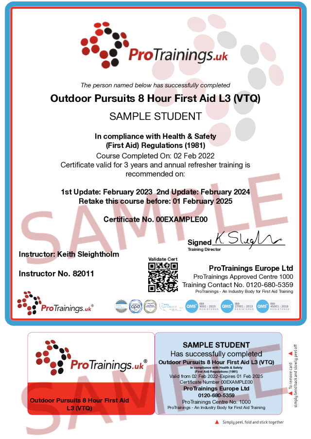 Sample Outdoor Pursuits First Aid Classroom Certificate