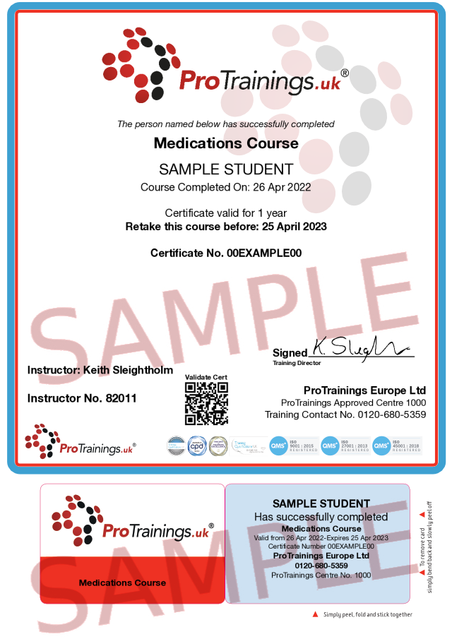 Sample Medications Level 2 (VTQ) Classroom Certificate