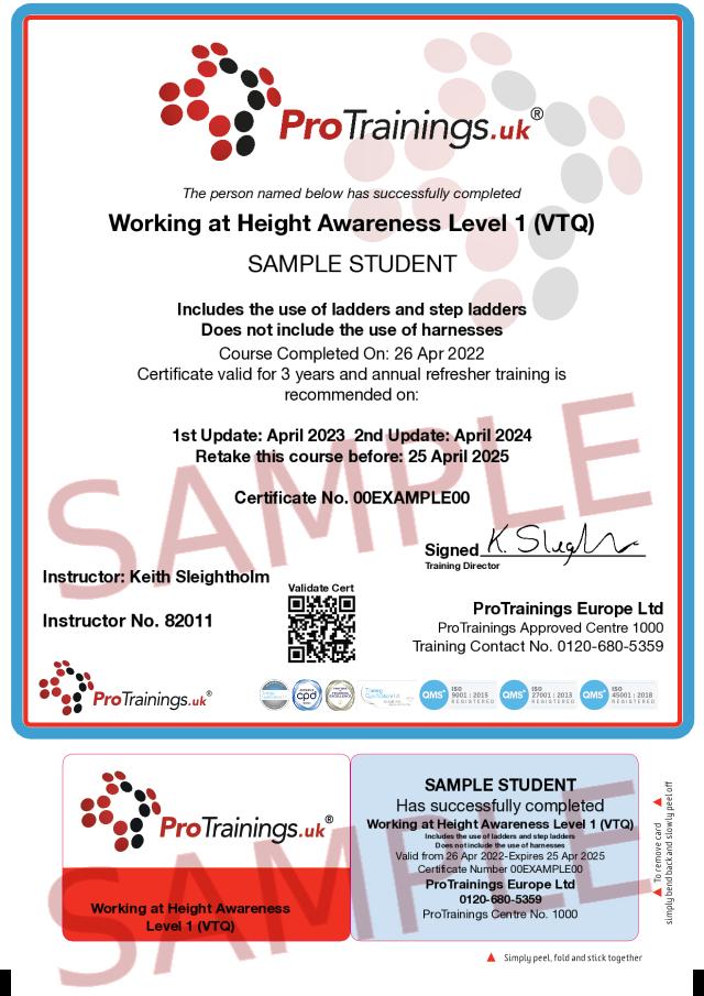 Sample Working at Height Awareness Level 1 (VTQ) Classroom Certificate