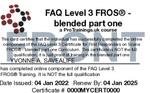 Sample FAQ Level 3 Award for First Responders on Scene: Emergency First Responder (RQF)  FROS® - blended part one Card Front