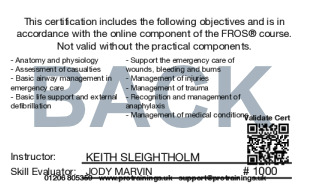 Sample FAQ Level 3 Award for First Responders on Scene: Emergency First Responder (RQF)  FROS® - blended part one Card Back