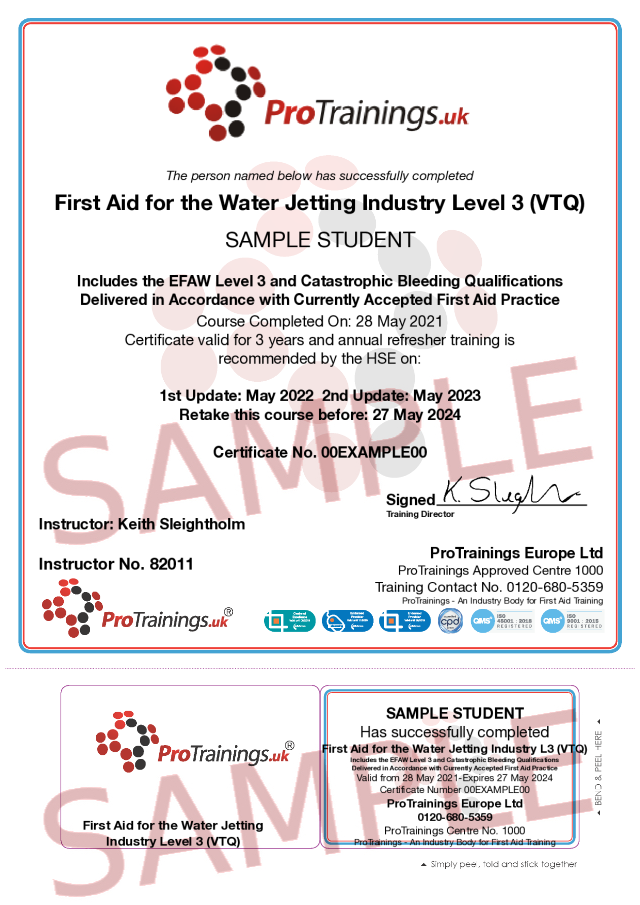 Sample First Aid for the Water Jetting Industry Level 3 (VTQ) - EFAW-JI Classroom Certificate